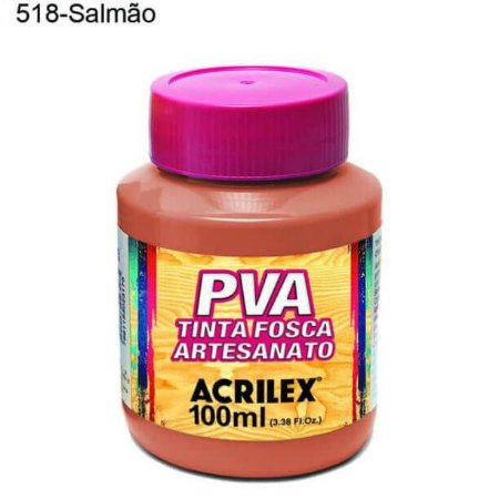 Tinta PVA Fosca para Artesanato Cor 518 Salmão 100ml Acrilex