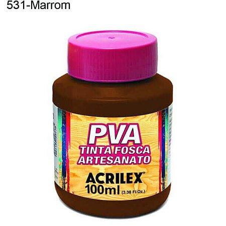 Tinta PVA Fosca para Artesanato Cor 531 Marrom 100ml Acrilex