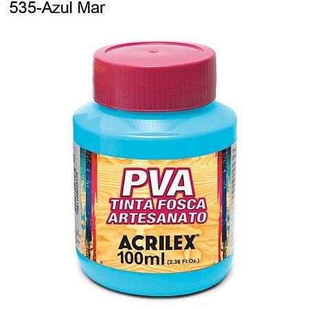 Tinta PVA Fosca para Artesanato Cor 535 Azul Mar 100ml Acrilex