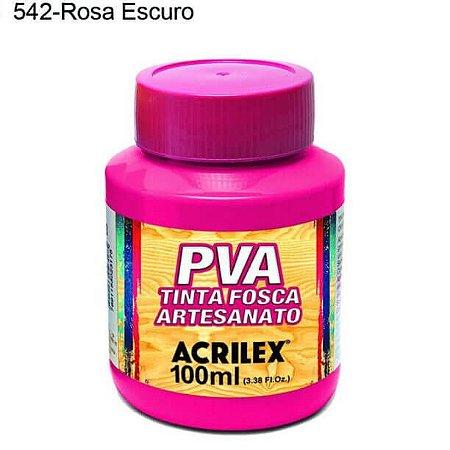 Tinta PVA Fosca para Artesanato Cor 542 Rosa Escuro 100ml Acrilex