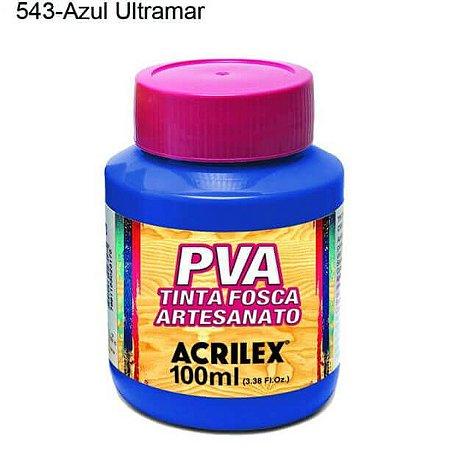 Tinta PVA Fosca para Artesanato Cor 543 Azul Ultramar 100ml Acrilex