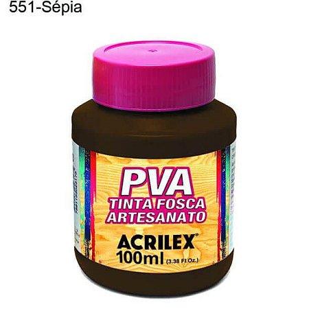 Tinta PVA Fosca para Artesanato Cor 551 Sépia 100ml Acrilex