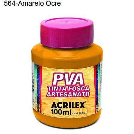 Tinta PVA Fosca para Artesanato Cor 564 Amarelo Ocre 100ml Acrilex