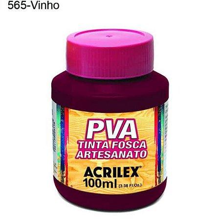 Tinta PVA Fosca para Artesanato Cor 565 Vinho 100ml Acrilex