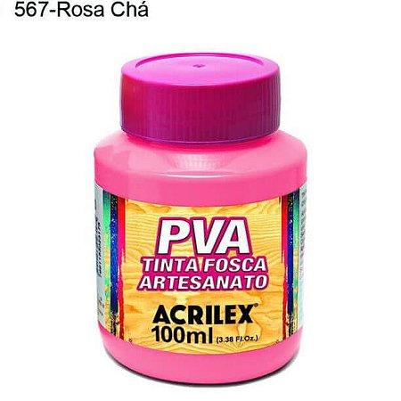 Tinta PVA Fosca para Artesanato Cor 567 Rosa Chá 100ml Acrilex