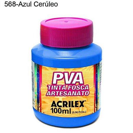 Tinta PVA Fosca para Artesanato Cor 568 Azul Cerúleo 100ml Acrilex