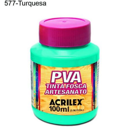 Tinta PVA Fosca para Artesanato Cor 577 Turquesa 100ml Acrilex