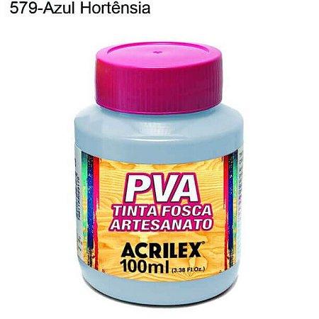 Tinta PVA Fosca para Artesanato Cor 579 Azul Hortência 100ml Acrilex