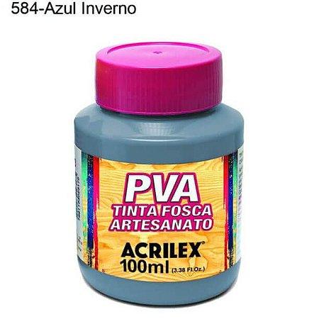 Tinta PVA Fosca para Artesanato Cor 584 Azul Inverno 100ml Acrilex