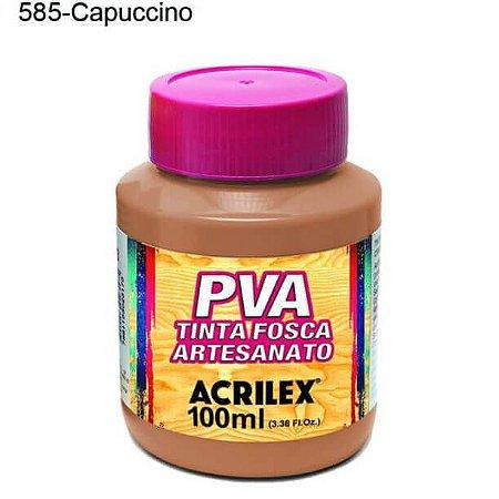 Tinta PVA Fosca para Artesanato Cor 585 Capuccino 100ml Acrilex