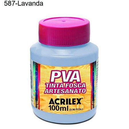 Tinta PVA Fosca para Artesanato Cor 587 Lavanda 100ml Acrilex