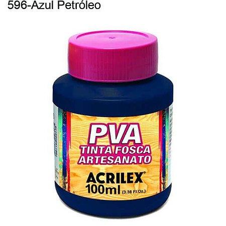 Tinta PVA Fosca para Artesanato Cor 596 Azul Petróleo 100ml Acrilex