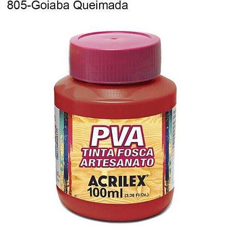 Tinta PVA Fosca para Artesanato Cor 805 Goiaba Queimada 100ml Acrilex