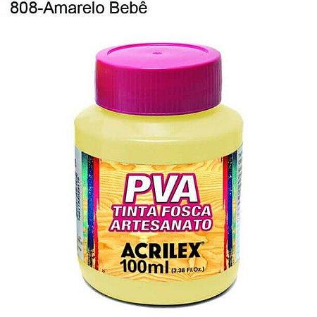 Tinta PVA Fosca para Artesanato Cor 808 Amarelo Bebê 100ml Acrilex