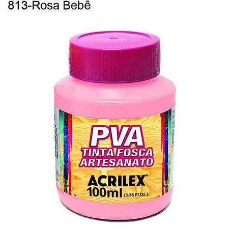 Tinta PVA Fosca para Artesanato Cor 813 Rosa Bebê 100ml Acrilex