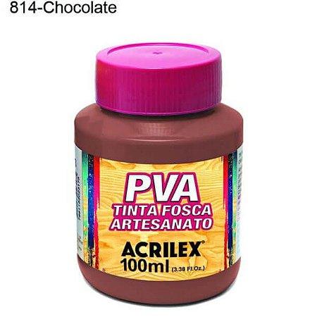 Tinta PVA Fosca para Artesanato Cor 814 Chocolate 100ml Acrilex
