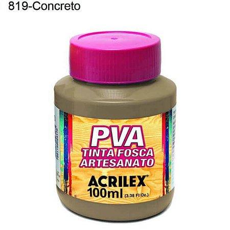 Tinta PVA Fosca para Artesanato Cor 819 Concreto 100ml Acrilex