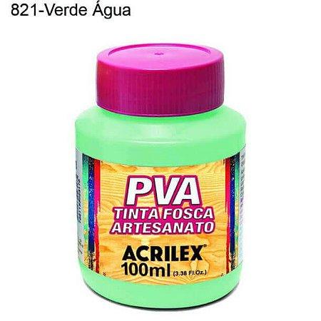 Tinta PVA Fosca para Artesanato Cor 821 Verde Agua 100ml Acrilex