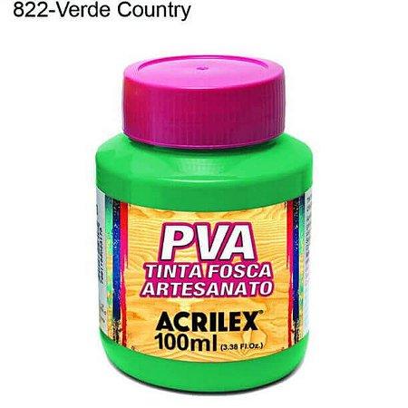 Tinta PVA Fosca para Artesanato Cor 822 Verde Country 100ml Acrilex