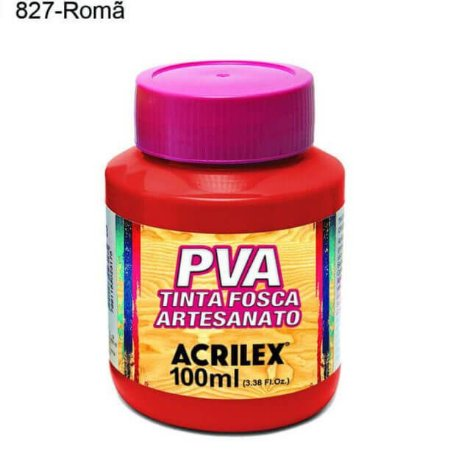 Tinta PVA Fosca para Artesanato Cor 827 Romã 100ml Acrilex