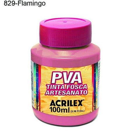 Tinta PVA Fosca para Artesanato Cor 829 Flamingo 100ml Acrilex