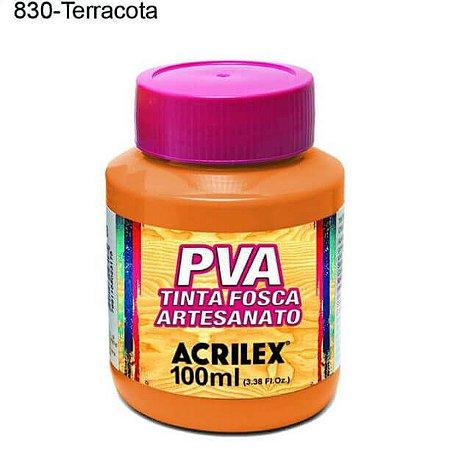 Tinta PVA Fosca para Artesanato Cor 830 Terracota 100ml Acrilex