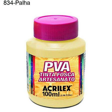 Tinta PVA Fosca para Artesanato Cor 834 Palha 100ml Acrilex