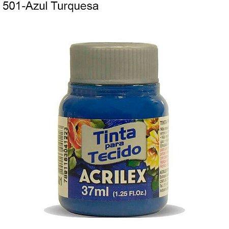 Tinta para Tecido 37ml Cor 501 Azul Turquesa Acrilex