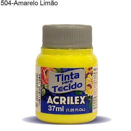 Tinta para Tecido 37ml Cor 504 Amarelo Limão Acrilex