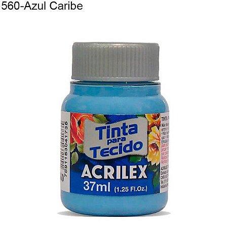 Tinta para Tecido 37ml Cor 560 Azul Caribe Acrilex