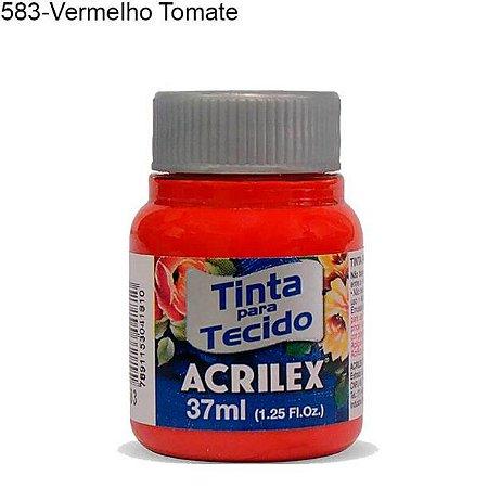 Tinta para Tecido 37ml Cor 583 Vermelho Tomate Acrilex