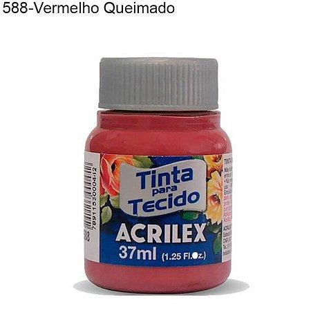 Tinta para Tecido 37ml Cor 588 Vermelho Queimado Acrilex