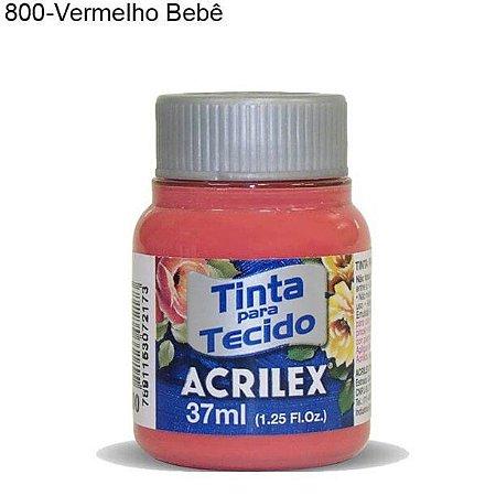 Tinta para Tecido 37ml Cor 800 Vermelho Bebê  Acrilex