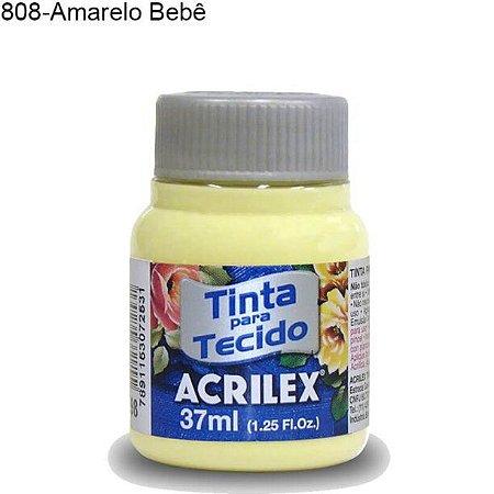 Tinta para Tecido 37ml Cor 808 Amarelo Bebê  Acrilex