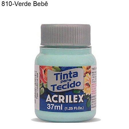 Tinta para Tecido 37ml Cor 810 Verde Bebê  Acrilex