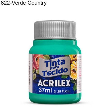 Tinta para Tecido 37ml Cor 822 Verde Country  Acrilex