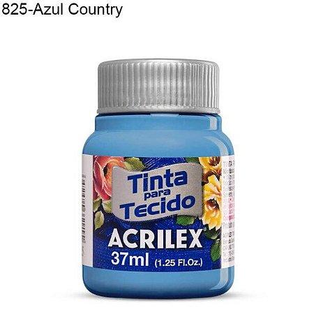 Tinta para Tecido 37ml Cor 825 Azul Country  Acrilex