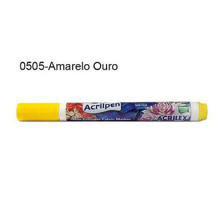 Caneta para Tecido Acrilpen Cor 0505 Amarelo Ouro Acrilex