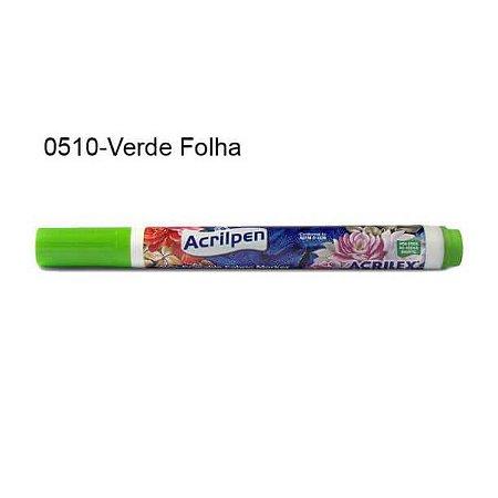 Caneta para Tecido Acrilpen Cor 0510 Verde Folha Acrilex