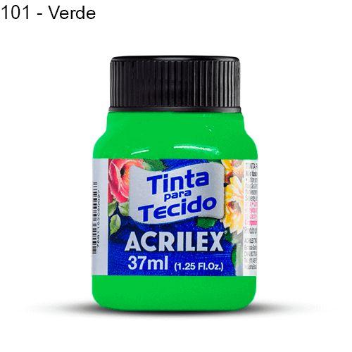 Tinta para Tecido Fluorescente 37 ml Cor 101 Verde Acrilex