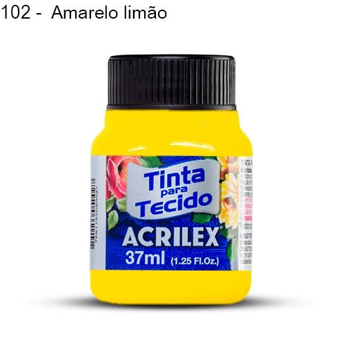 Tinta para Tecido Fluorescente 37 ml Cor 102 Amarelo Limão Acrilex