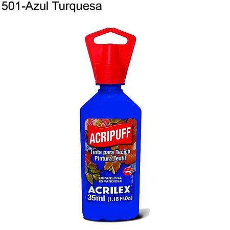 Tinta para Tecido Acripuff 35ml Cor 501 Azul Turquesa Acrilex