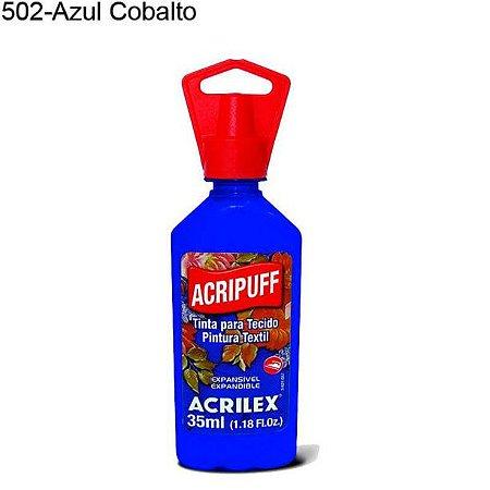 Tinta para Tecido Acripuff 35ml Cor 502 Azul Cobalto Acrilex