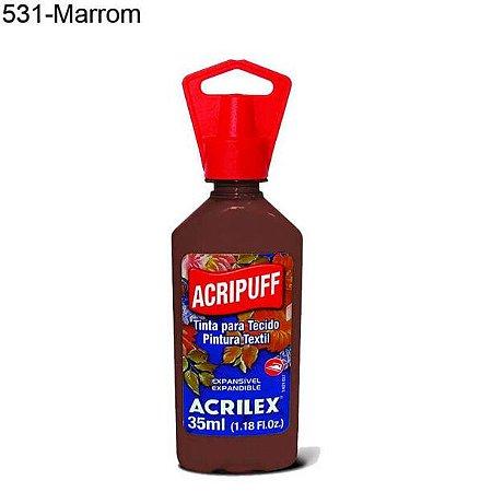 Tinta para Tecido Acripuff 35ml Cor 531 Marrom Acrilex
