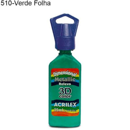 Tinta Dimensional 3D Relevo Metálica 35ml Cor 510 Verde Folha  Acrilex