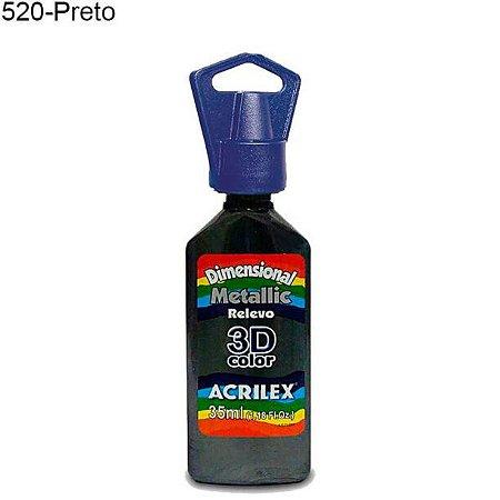 Tinta Dimensional 3D Relevo Metálica 35ml Cor 520 Preto  Acrilex