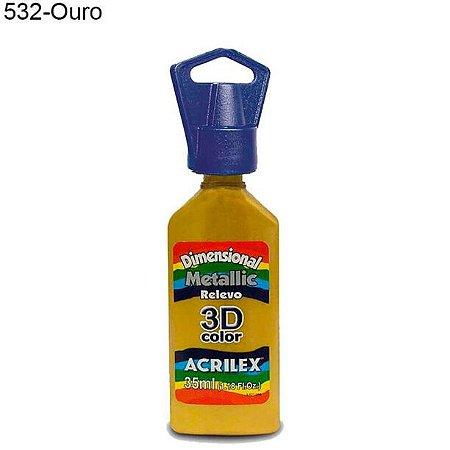 Tinta Dimensional 3D Relevo Metálica 35ml Cor 532 Ouro  Acrilex