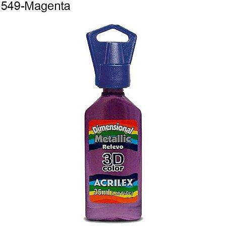 Tinta Dimensional 3D Relevo Metálica 35ml Cor 549 Magenta  Acrilex
