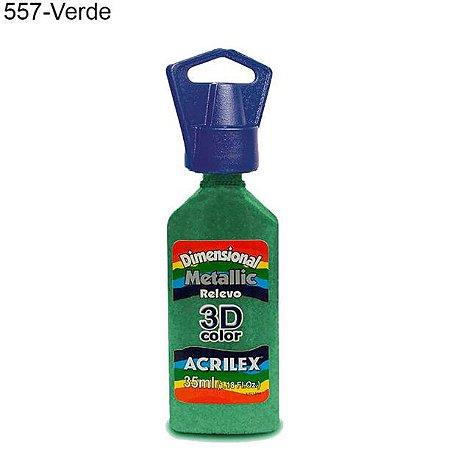 Tinta Dimensional 3D Relevo Metálica 35ml Cor 557 Verde  Acrilex