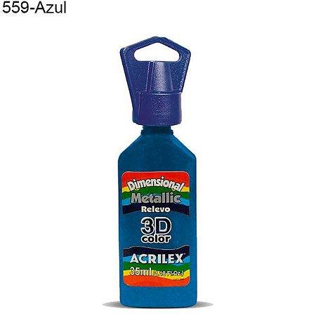 Tinta Dimensional 3D Relevo Metálica 35ml Cor 559 Azul  Acrilex